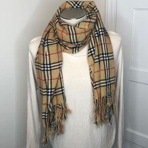 Tan plaid scarf or wrap